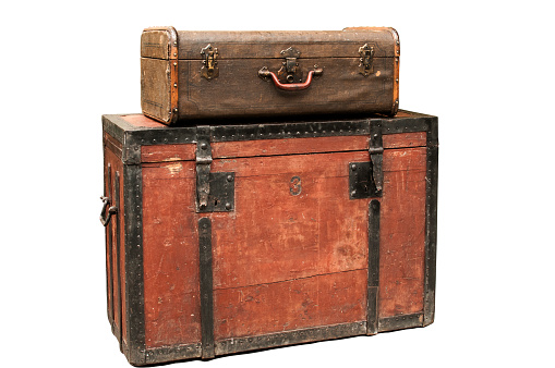 Old wooden chest and suitcase