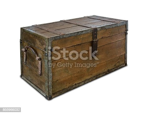istock Old wooden chest 855966032