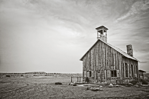 Old wooden church near Moab, Utah - Black and white photography