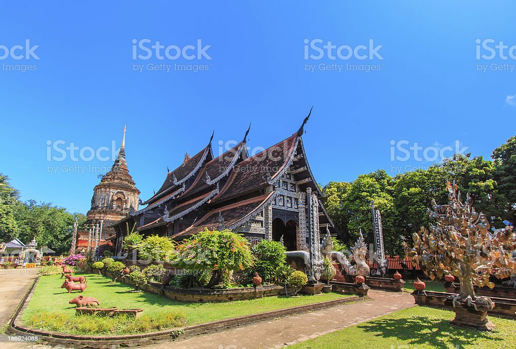 Old wooden church of Wat Lok Molee Chiangmai Thailand stock photo