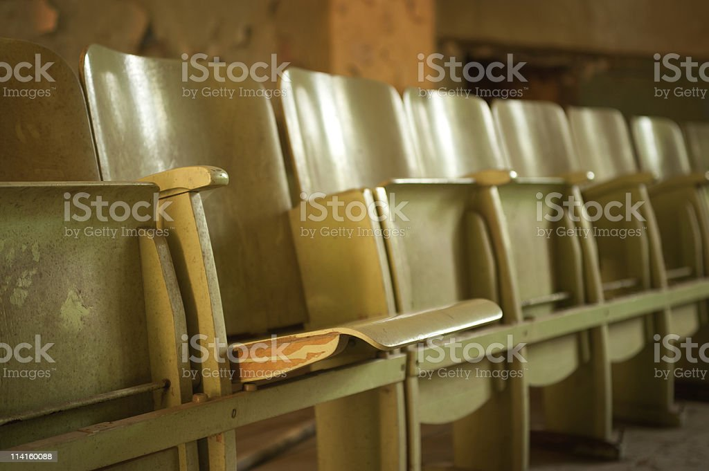 old wooden cinema seats stock photo
