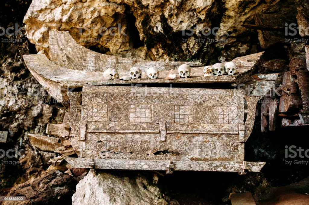 Old wooden coffin with skulls and bones nearby on a rock. Hanging coffins, graves. Traditional burials site, cemetery Kete Kesu in Rantepao, Tana Toraja, Sulawesi, Indonesia. stock photo