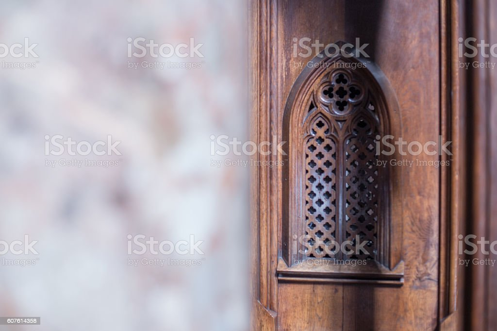 Old wooden confessional in monastery stock photo