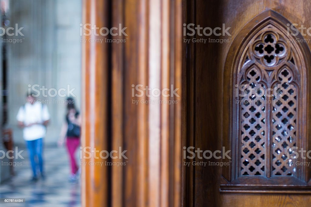 Old wooden confessional in monastery – Foto