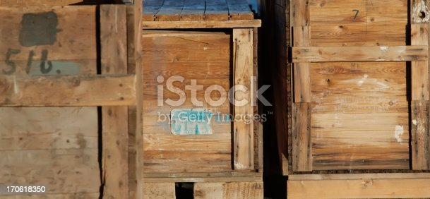 Old wooden crates for transport.Lightbox: