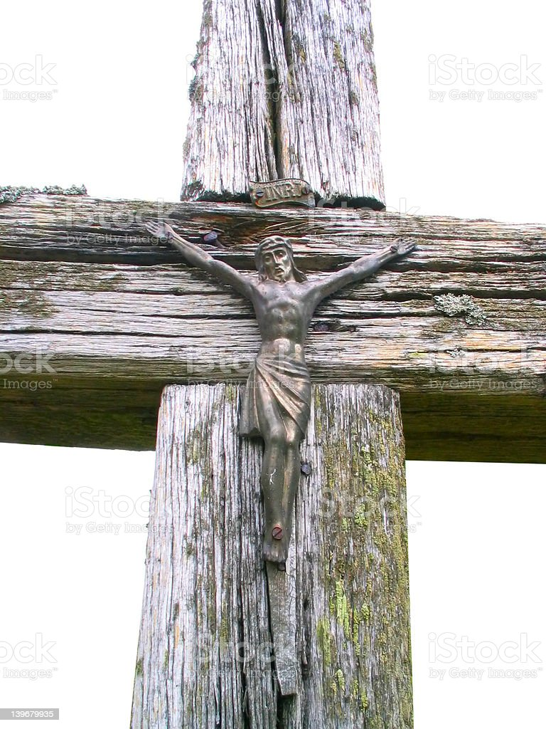 old wooden cross - isolated royalty-free stock photo