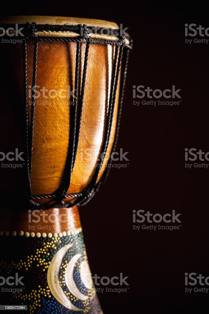 Old Wooden Djembe stock photo