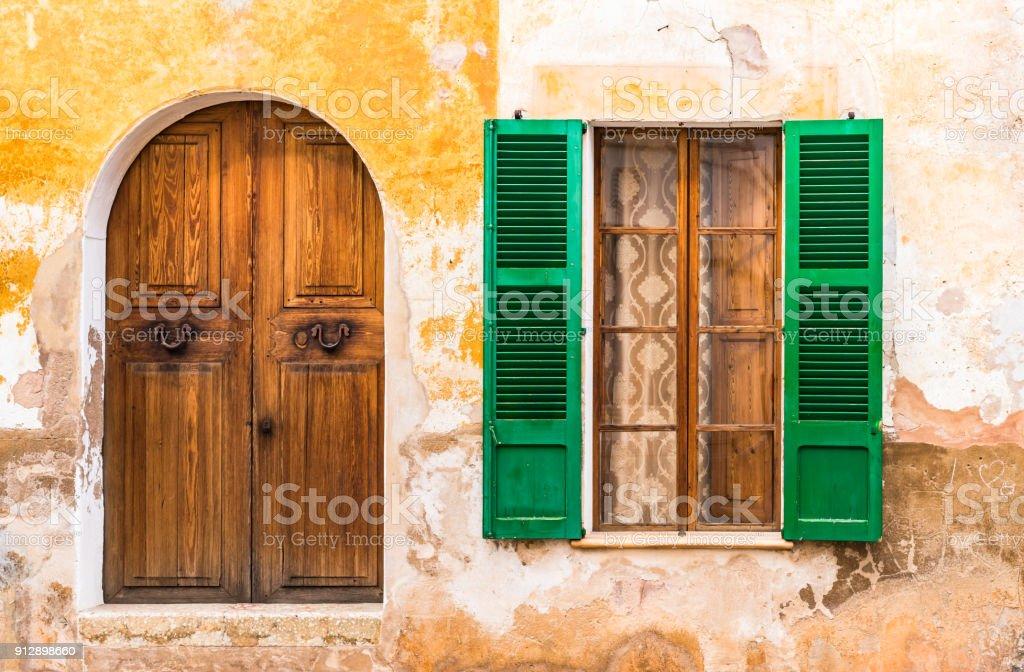 house window shutters outdoor old wooden door and open window shutters of mediterranean house royaltyfree stock photo wooden door and open window shutters of mediterranean house