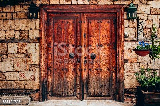Old wooden door - castle door, Kaleici, Antalya, Turkey.