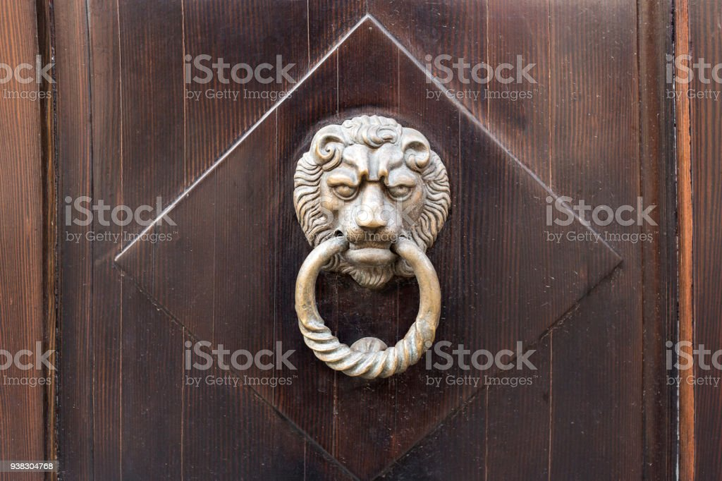 Old Wooden Door. Heads Of Lion On The Front . Vintage Door Knocker. Royalty