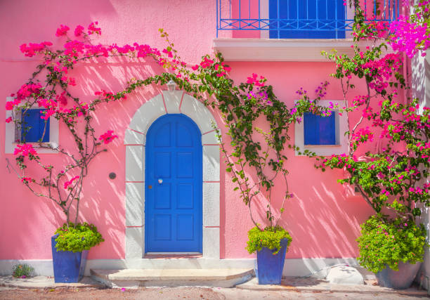 old wooden door - house with flowers stock photos and pictures
