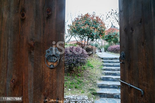 old wooden door to garden
