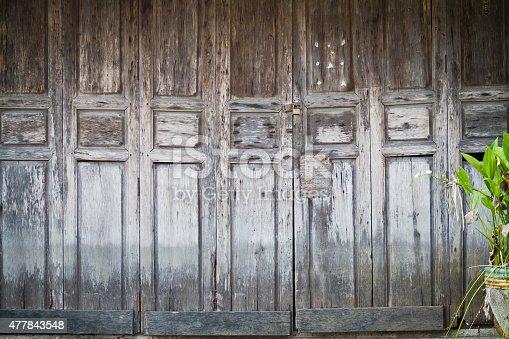 1178501072istockphoto old wooden door with a metal lock. Background texture 477843548