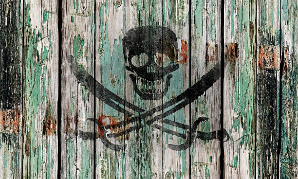old wooden door with a skull and swords - pirates stock photos and pictures