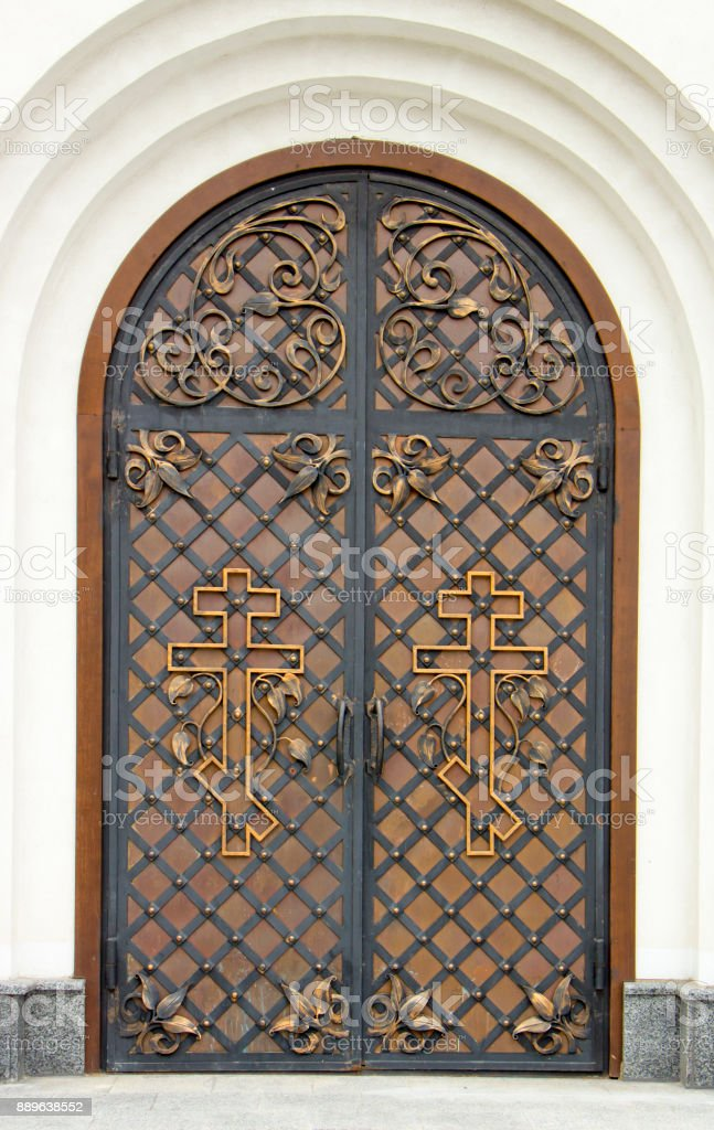 Bon Old Wooden Door With Forged Hinges, Wooden Texture Of Old Doors With  Forging Elements Royalty