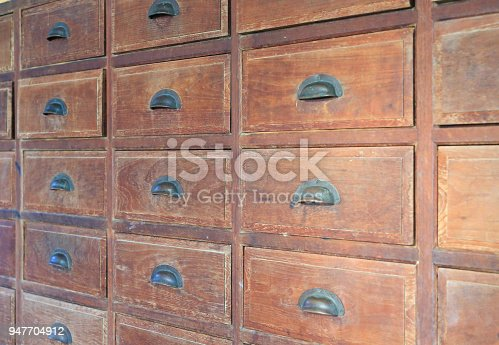 668340340istockphoto Old wooden drawer. 947704912