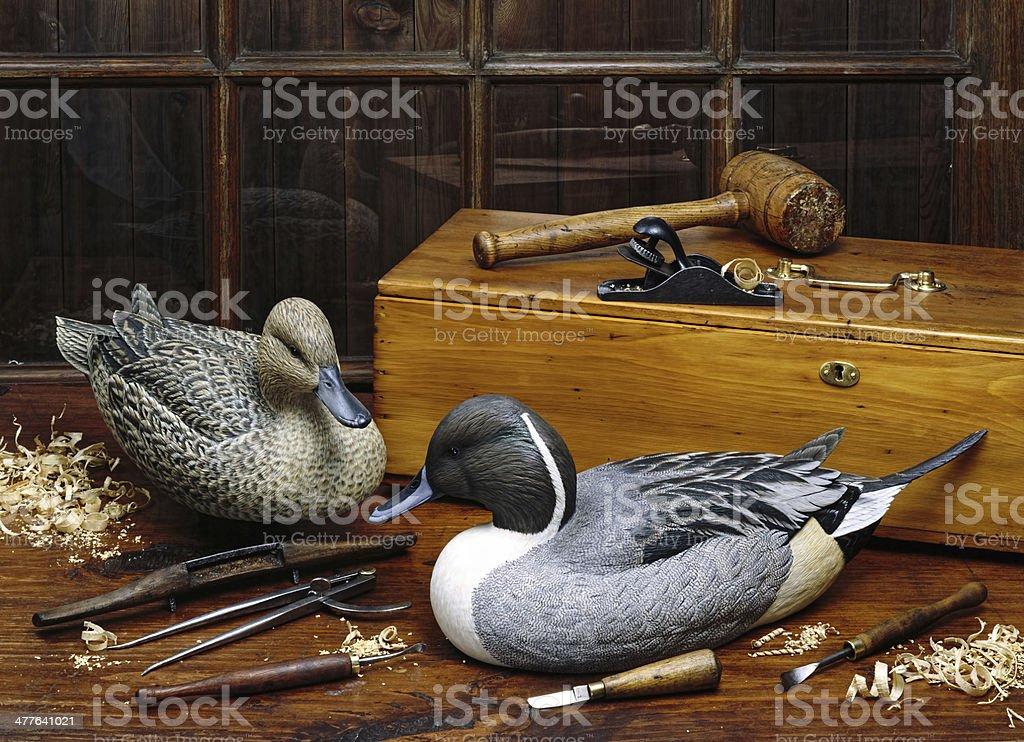 Old Wooden Ducks. stock photo