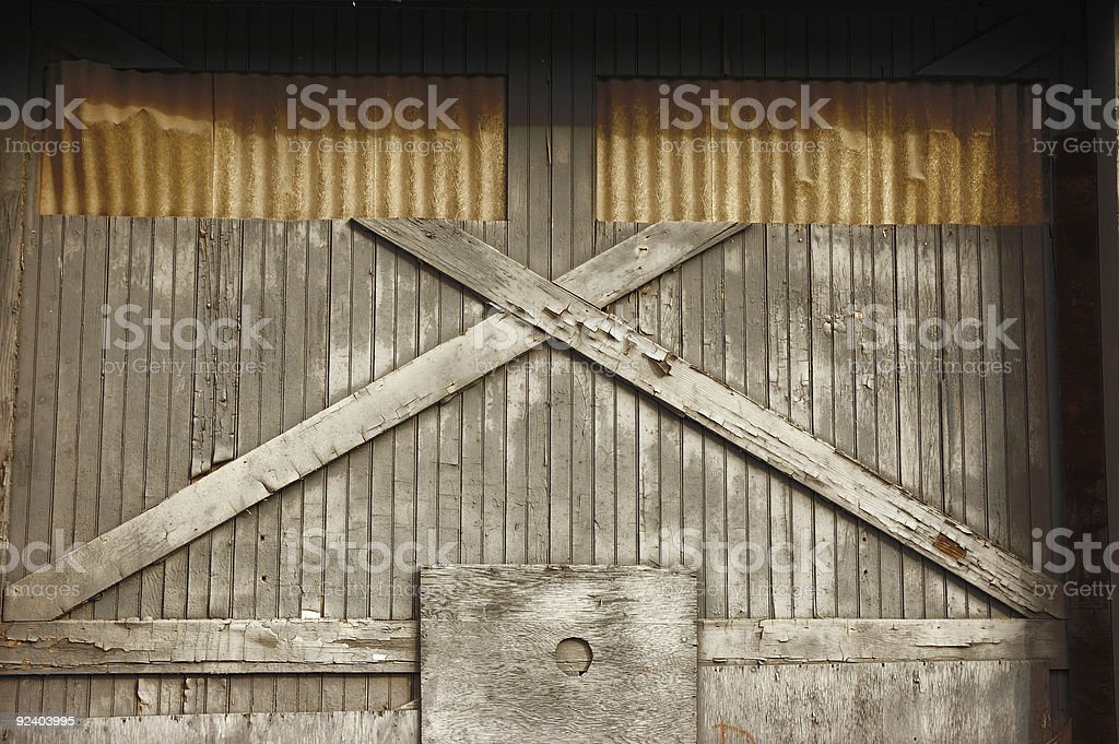 Old Wooden Factory Door royalty-free stock photo