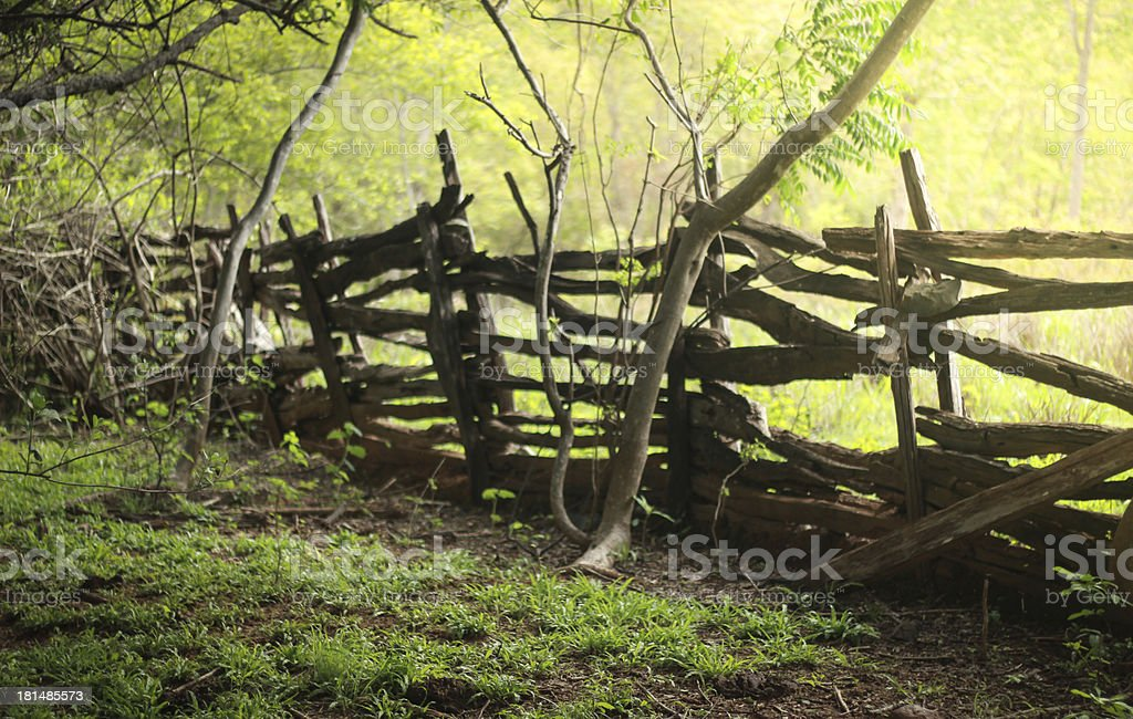 Old wooden fence at the farm stock photo