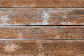 istock Old wooden fence made of wide boards of brown color with rusty nails. Texture. Simply background 670354198