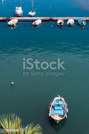 Old wooden fishing boat in Chios Island, Greece.