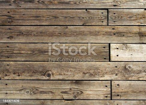 Heavily-used wooden pier in fishing village in Norway