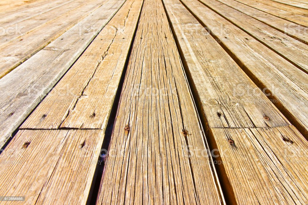 Old Wooden Floor Slats For Outdoor Use Stuck With Metal Nails Stock