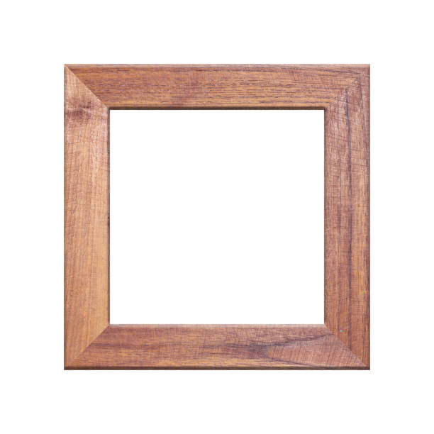 old wooden frame isolated on white background. - square stock pictures, royalty-free photos & images