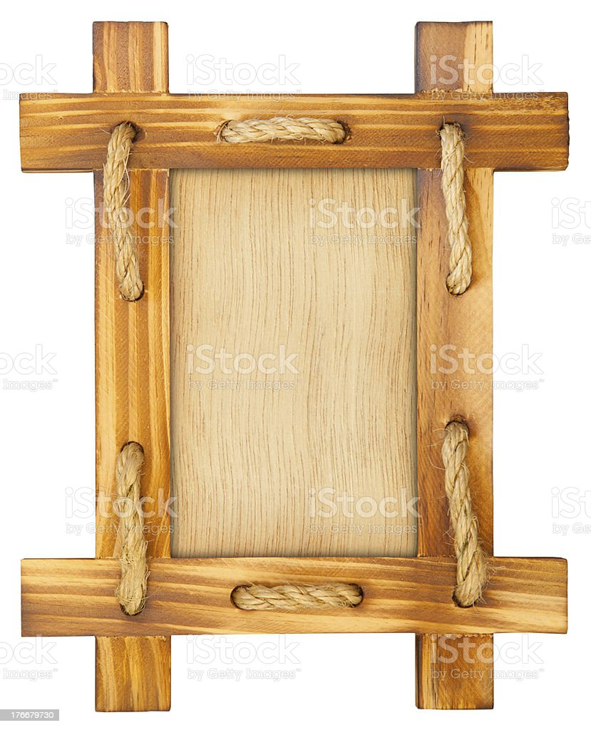 Old wooden frame with rope royalty-free stock photo