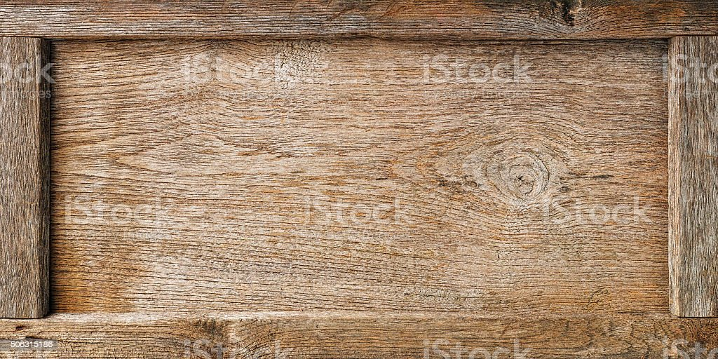 Old wooden framed board background. stock photo