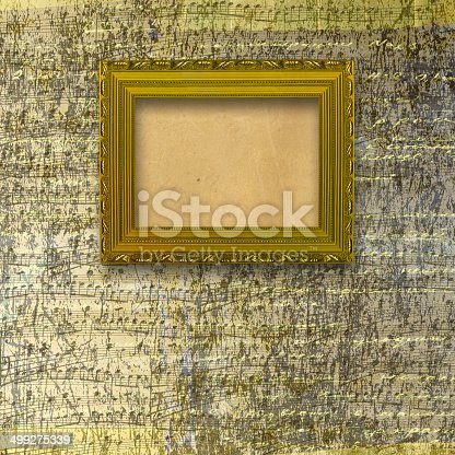 istock Old wooden frames for photo on the abstract paper background 499275339