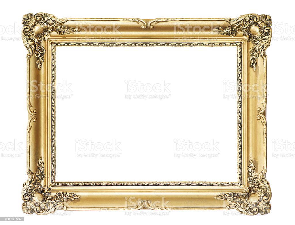 Old wooden gold frame royalty-free stock photo