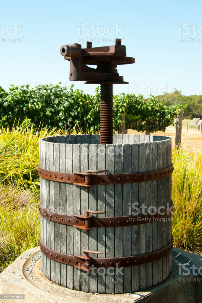 Old Wooden Grape Press stock photo