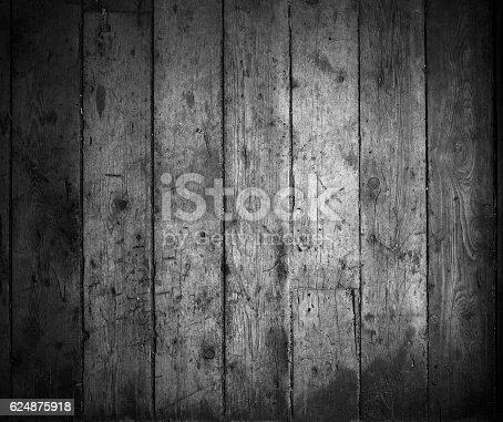 istock Old wooden gray dark plank wall texture background 624875918