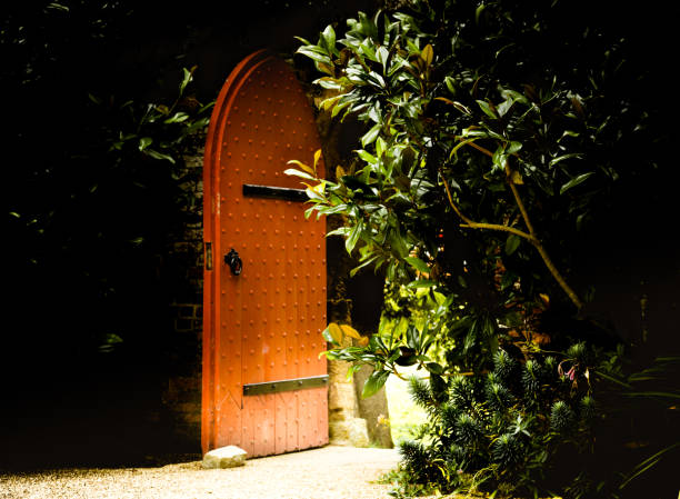 Old wooden heavy open door as entrance to the fairy tale stock photo