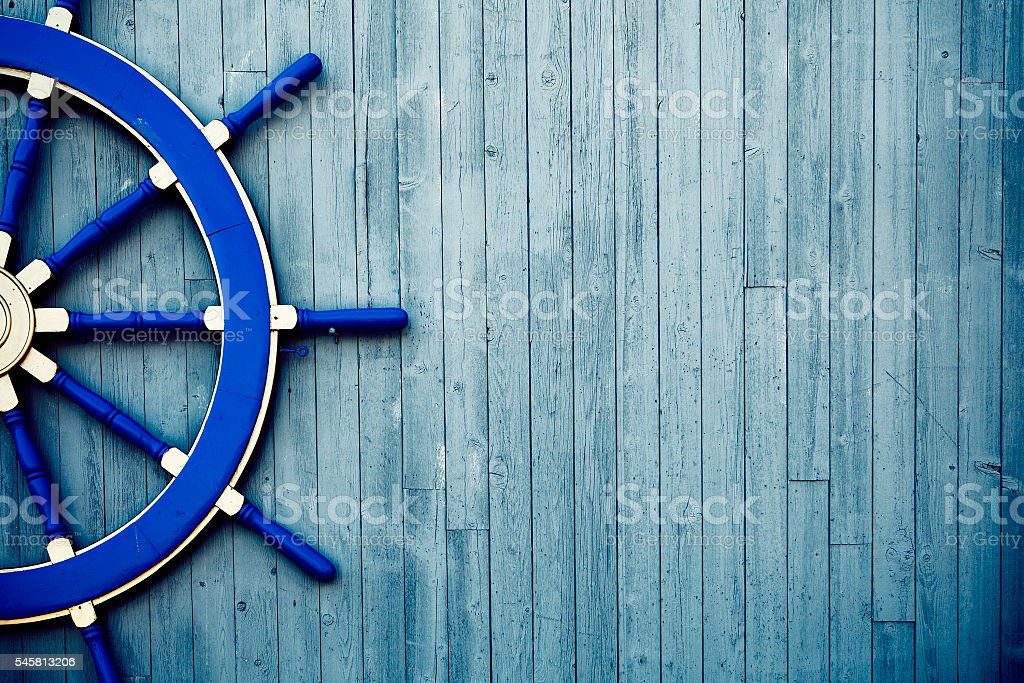 Old Wooden Helm Wheel stock photo