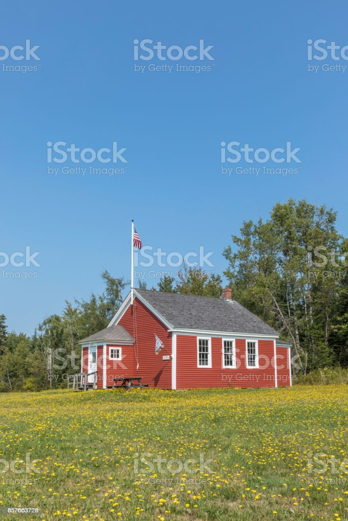 old wooden historic school house in Penobscot stock photo