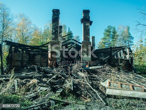 istock old wooden house after fire against the clear blue sky 625873720