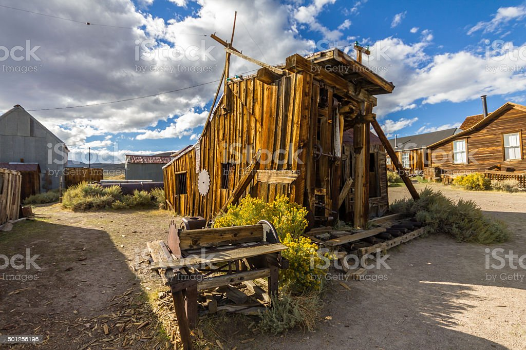 Old wooden house, ghost town Bodie stock photo