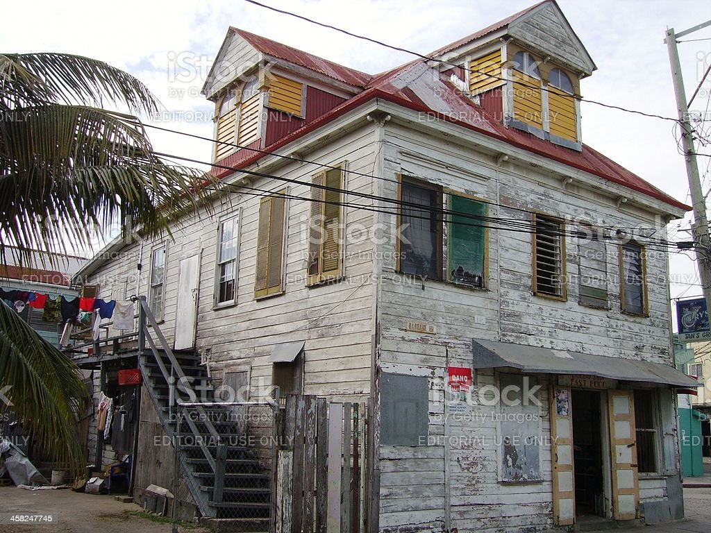 Old wooden house in Belize city royalty-free stock photo