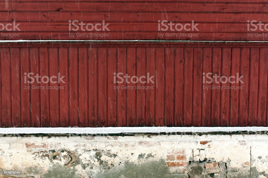 Old wooden house in snow. stock photo
