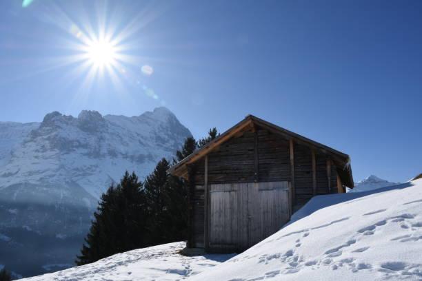 Alte Holzhütte gegenüber Eiger – Foto