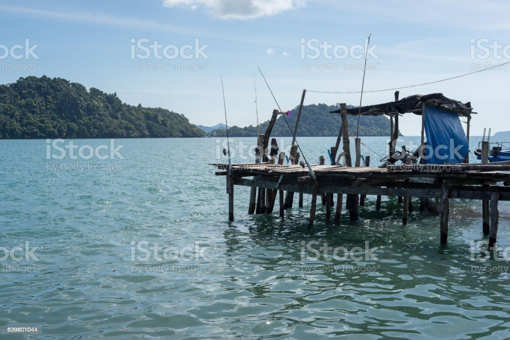 Old Wooden Jetty With Fishing Rods Stock Photo More Pictures Of Activity