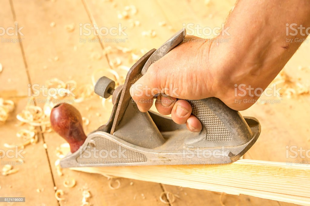 old wooden jointer carpenter tool stock photo