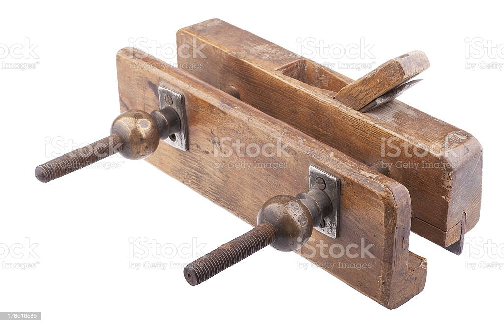 Old wooden jointer stock photo