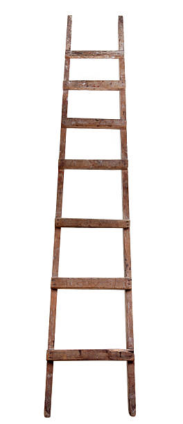 old wooden ladder - ladder stock photos and pictures