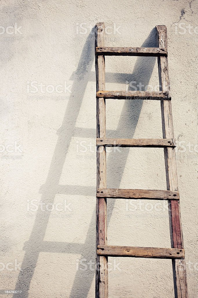 Old wooden ladders stock photo