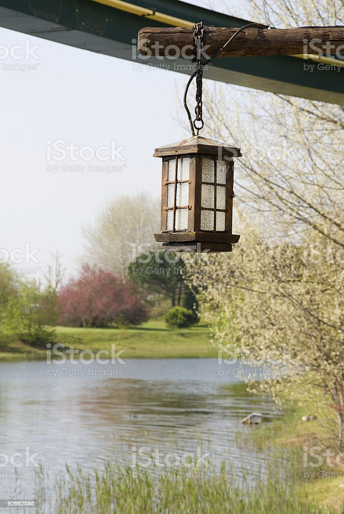Old wooden lamp royalty-free stock photo