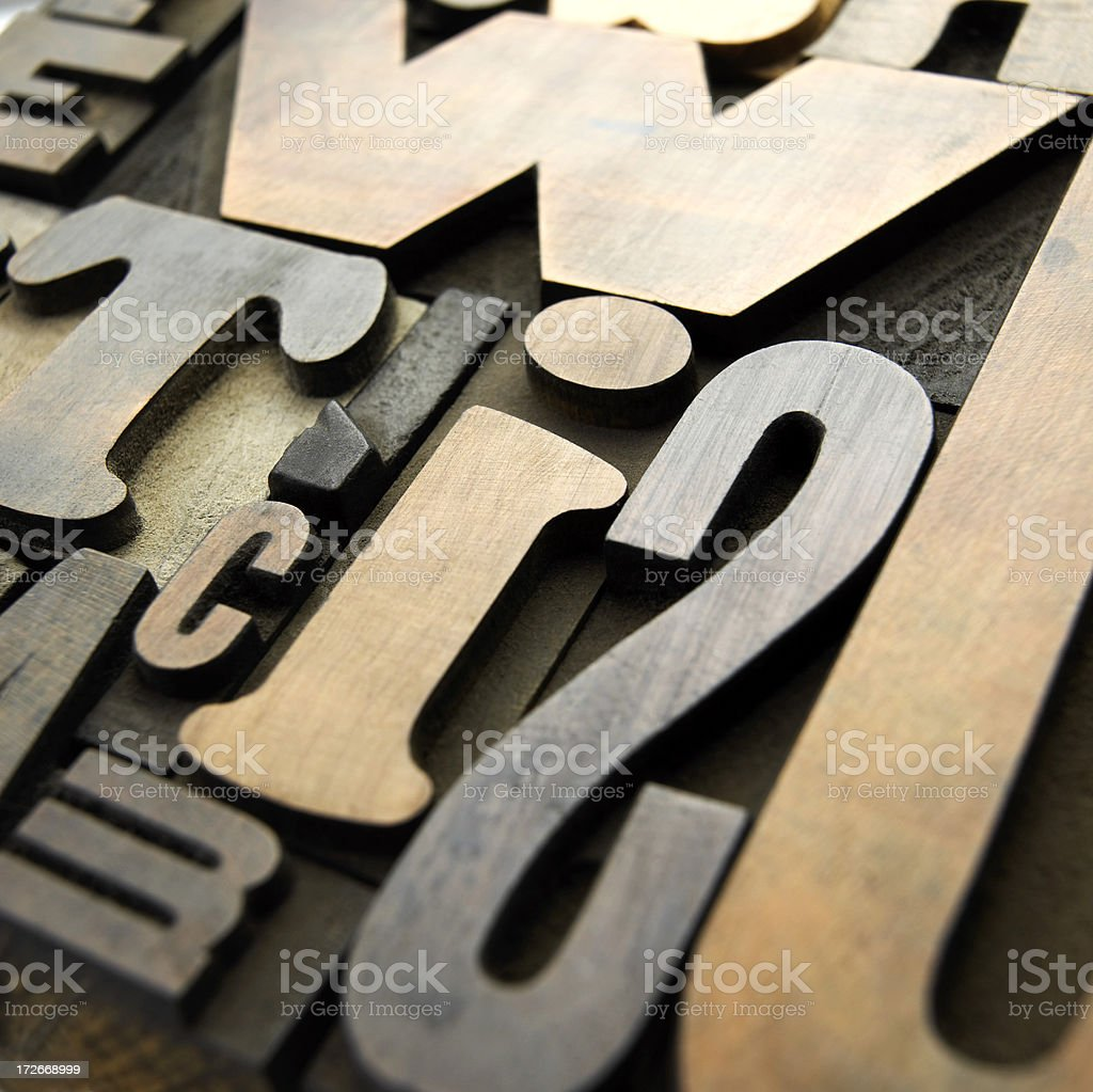 Old wooden letters royalty-free stock photo