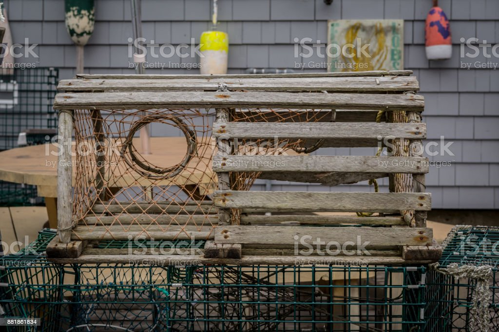 Old Wooden Lobster Trap stock photo